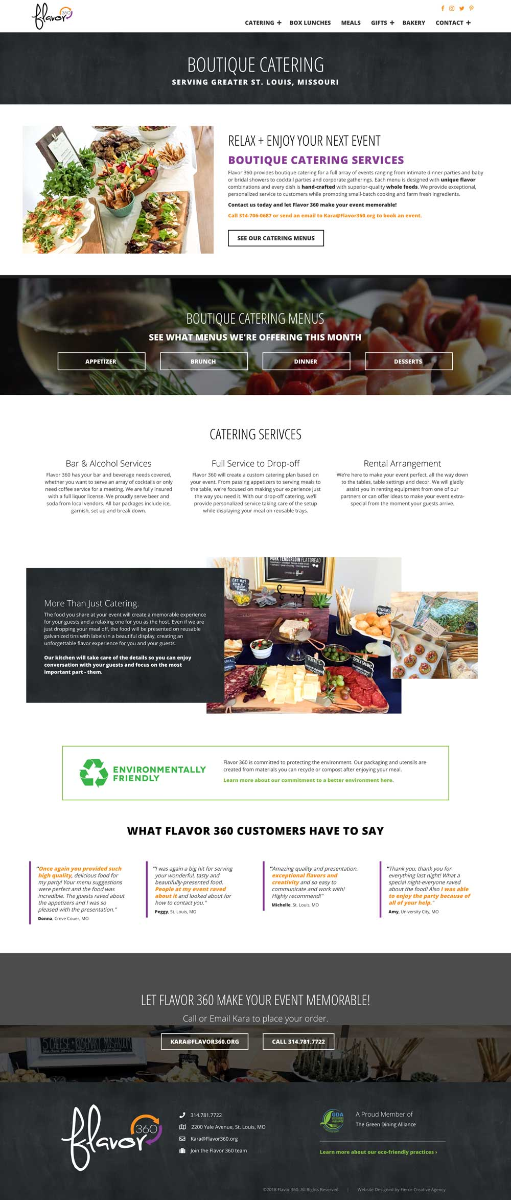 Flavor 360 Boutique Catering Page