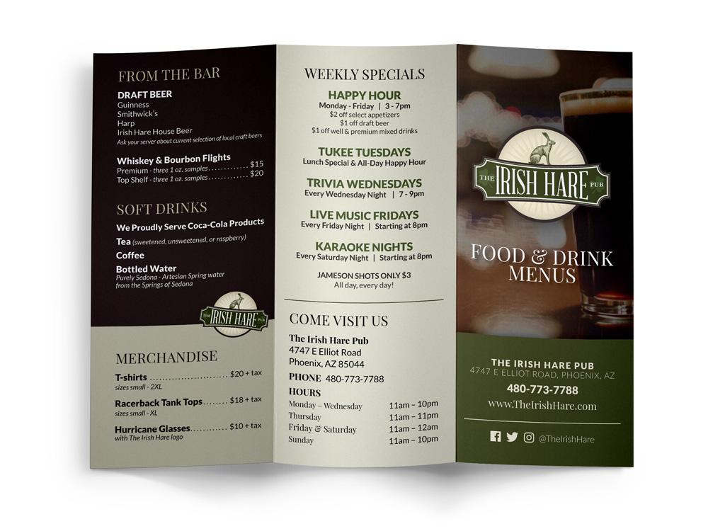 The Irish Hare Pub Tri-fold Menu