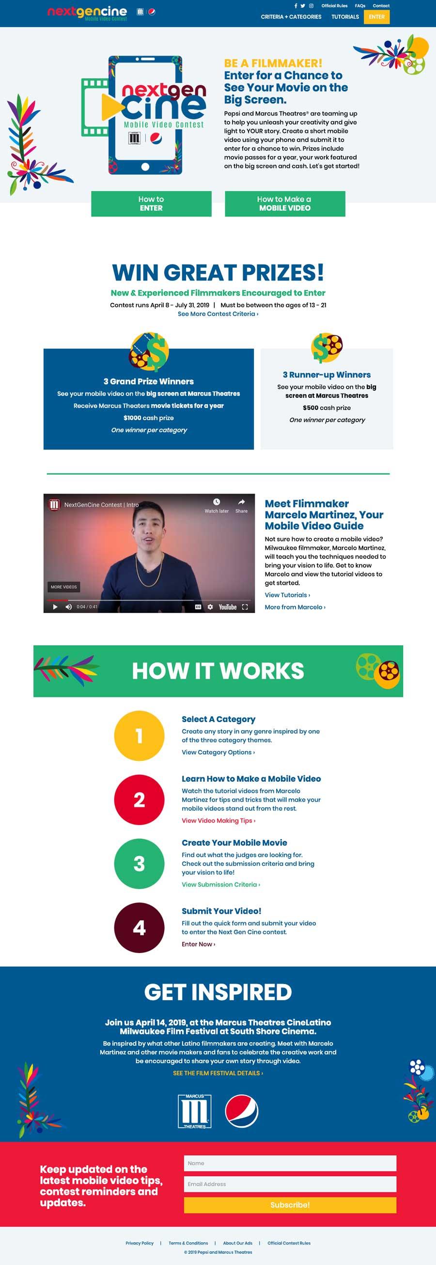 Next Gen Cine Mobile Video Contest Website
