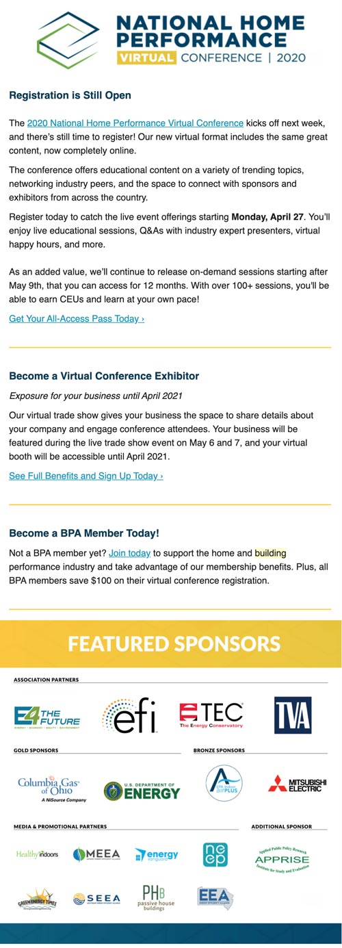 Email Marketing National Home Performance Virtual Conference