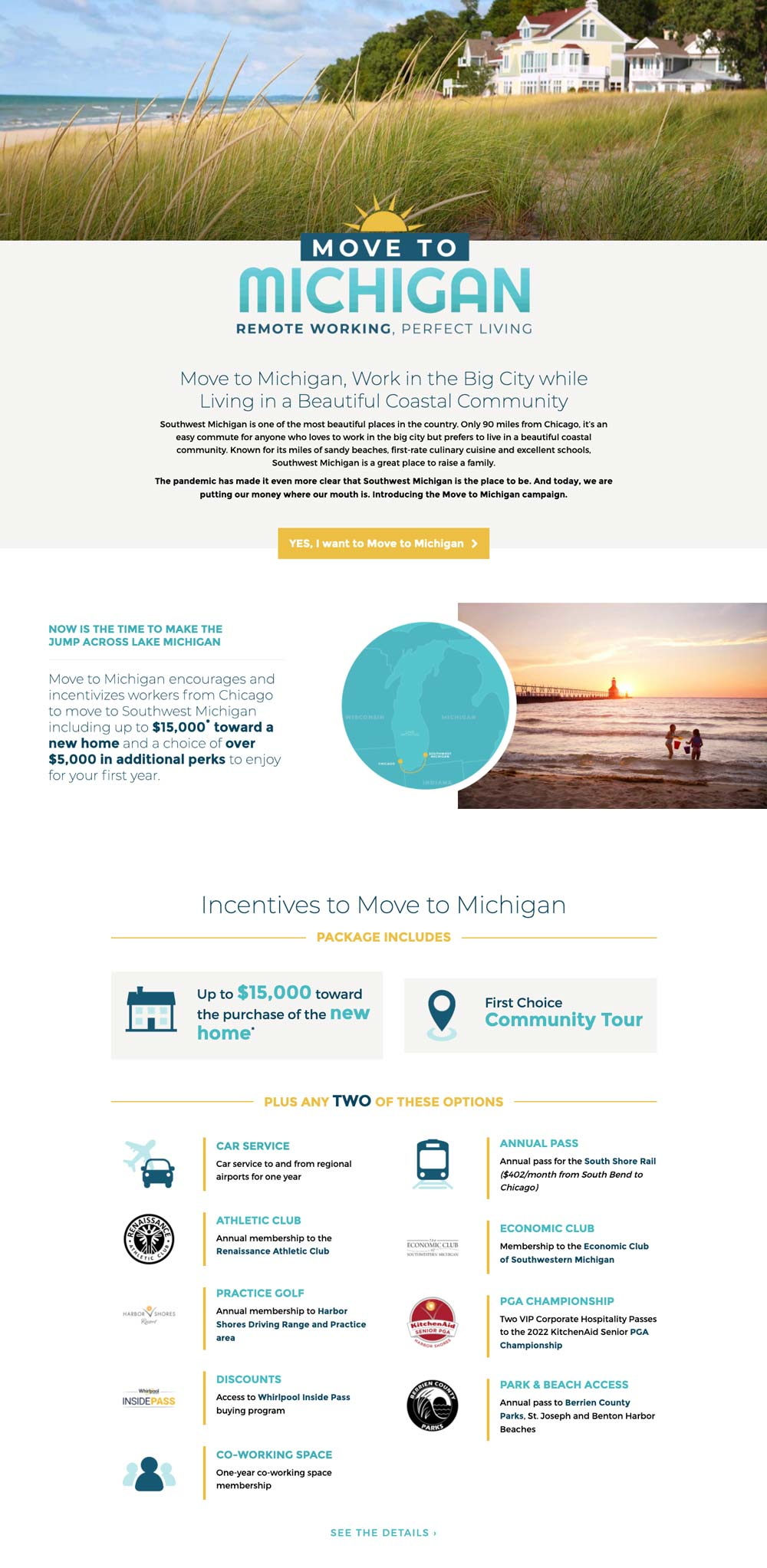 Cornerstone Alliance - Move to Michigan Landing Page
