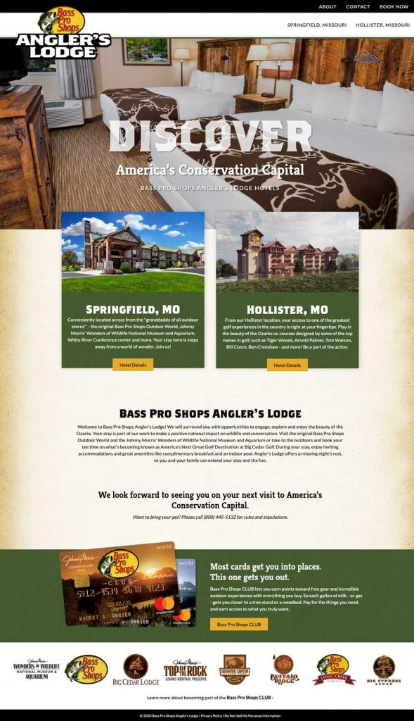 Bass Pro Shops Angler's Lodge Website Homepage