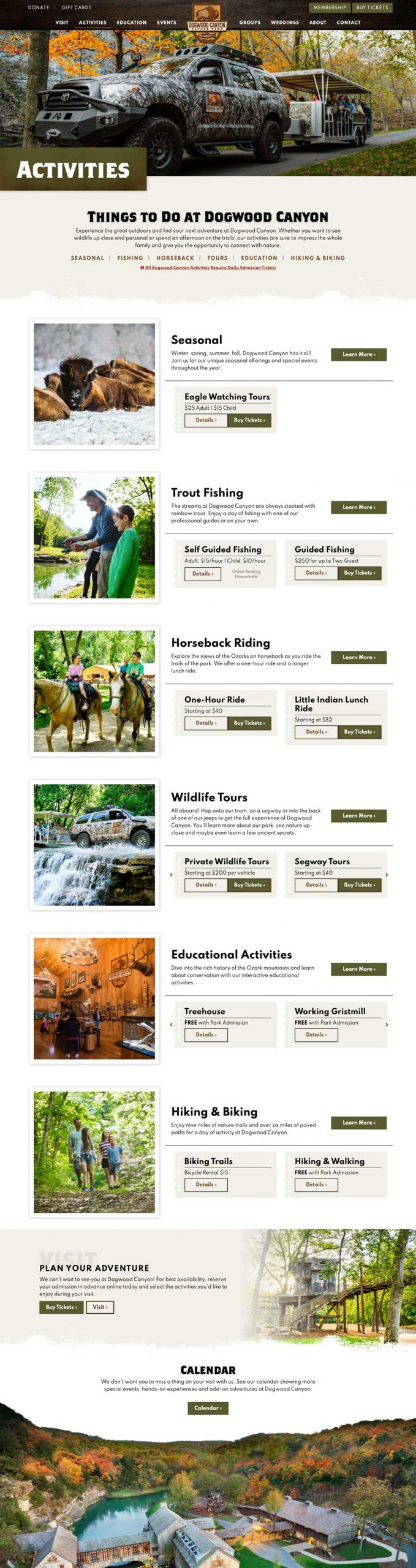 Dogwood Canyon Nature Park Activities