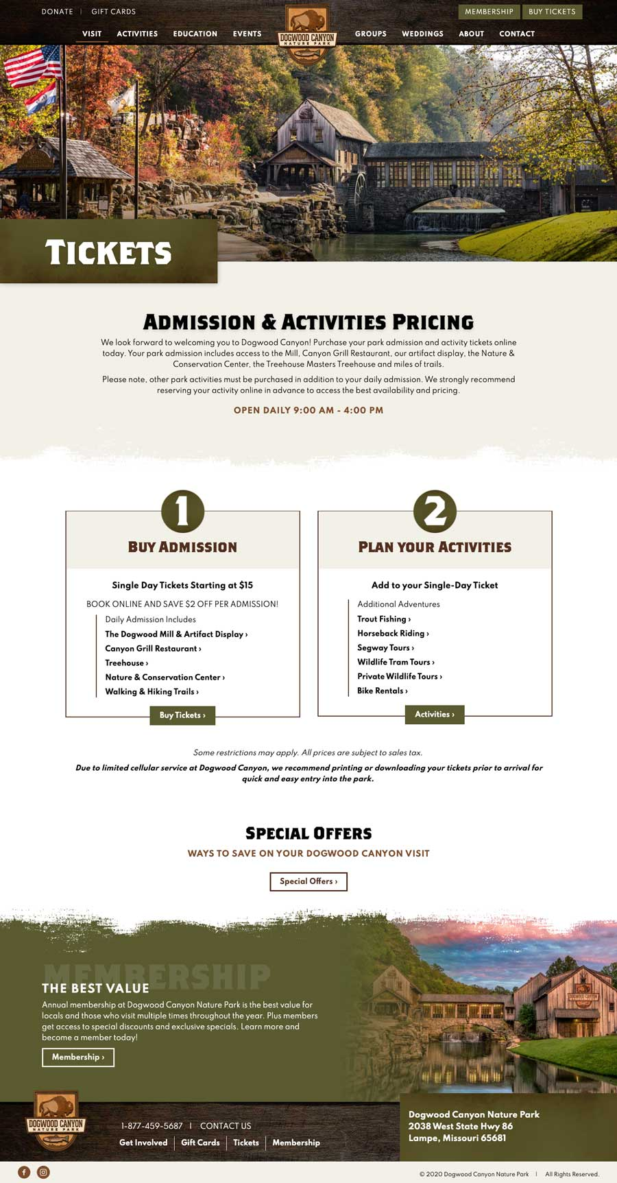 Dogwood Canyon Nature Park Tickets
