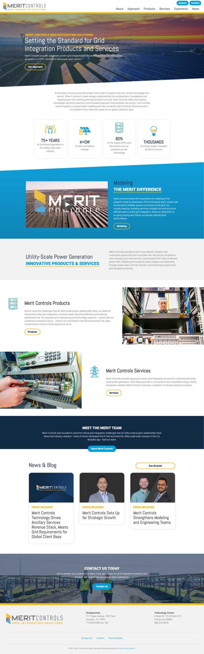 Merit Controls Website - Homepage